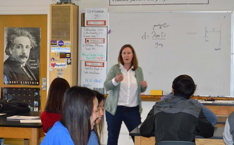 Teacher and students in Bolsa classroom.