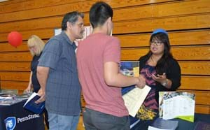 Students meet with recruiters at annual College Fair.