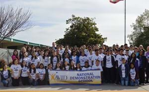 Santiago High School celebrates being named an AVID National Demonstration School in 2017.